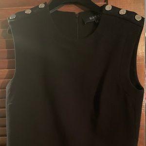 Auth GUCCI black w/ silver shoulder button blouse